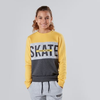Typographic Printed Colourblock Sweatshirt with Long Sleeves