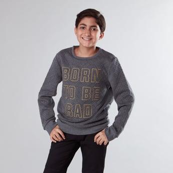 Slogan Printed Round Neck Sweatshirt with Long Sleeves