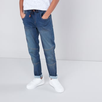 Panelled Jeans with Drawstring Waistband and Pockets