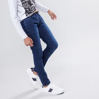بنطلون جينز طويل برباط إغلاق و5 جيوب