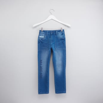 Printed Jeans with Button Closure