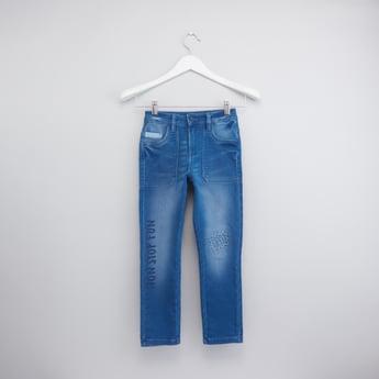 بنطال جينز بطبعات وزر إغلاق
