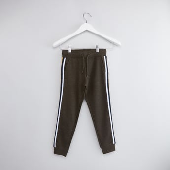Textured Jogger Pants with Tape Detail and Drawstring Closure