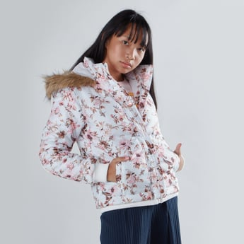Printed Bomber Jacket with Hood and Long Sleeves