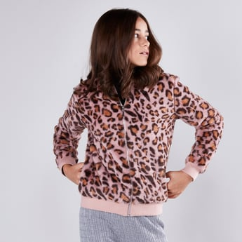 Fluffy Bomber Jacket with Long Sleeves and Zip Closure