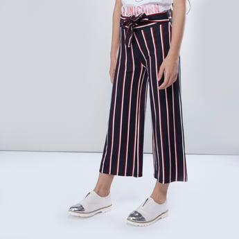 Striped Culottes with Front-Knot Styling