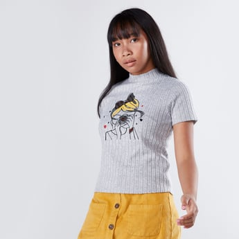 Printed Turtleneck Top with Short Sleeves and Sequin Detail
