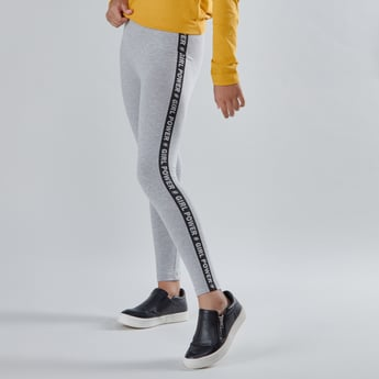Full Length Leggings with Printed Tape and Elasticised Waistband