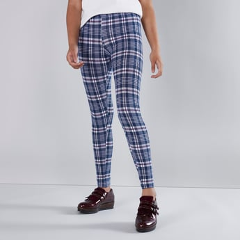 Full Length Chequered Leggings with Elasticised Waistband