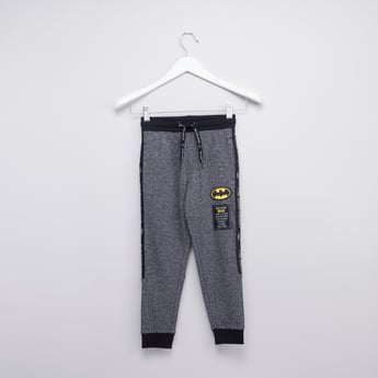 Batman Textured Jog Pants with Drawstring and Pocket Detail