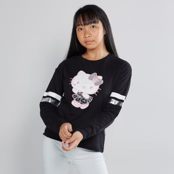 Hello Kitty Printed Sweatshirt with Round Neck and Long Sleeves