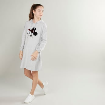 Mickey Mouse Embellished Dress with Long Sleeves and Hood