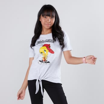 Tweety Printed T-shirt with Short Sleeves and Tie Ups
