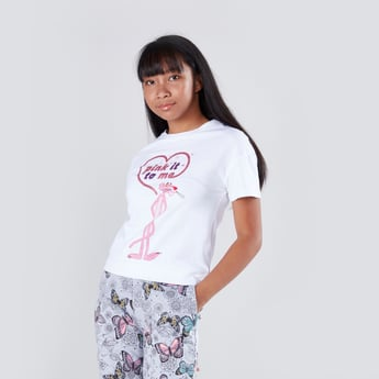Pink Panther Printed Round Neck T-shirt with Short Sleeves