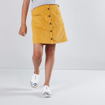 Textured Mini Skirt with Pocket and Button Detail