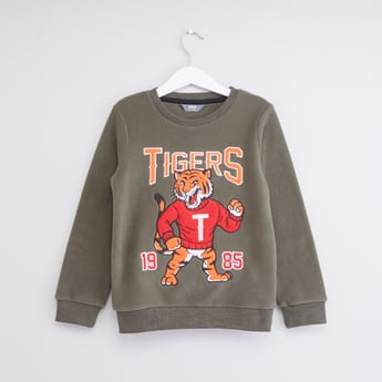 Graphic Embroidered Sweatshirt with Long Sleeves