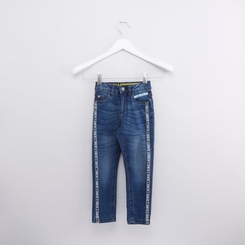 Full Length Jeans with Printed Tape and Pocket Detail