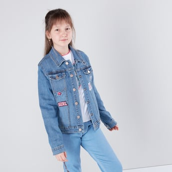 Embellished Denim Jacket with Long Sleeves
