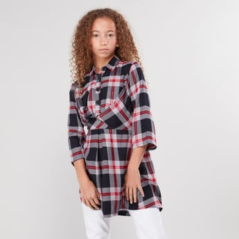 Chequered Longline Shirt with 3/4 Sleeves