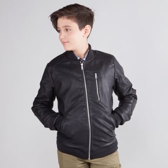 Textured Biker Jacket with Long Sleeves and Kangaroo Pockets