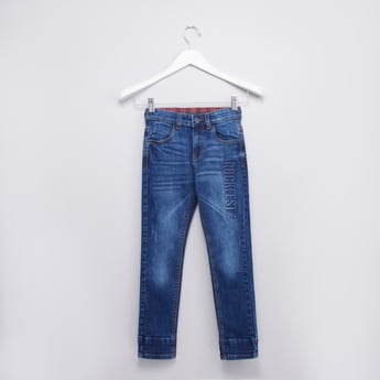 Embossed Jeans with Pocket Detail and Belt Loops
