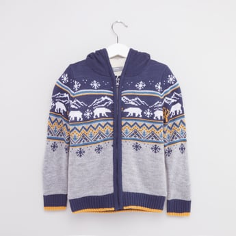 Printed Sweater Jacket with Long Sleeves and Hood