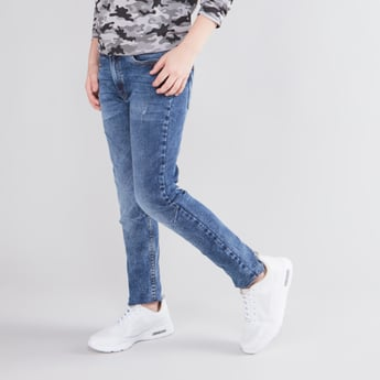 Ankle Length Jeans with 5-Pockets and Zip Closure