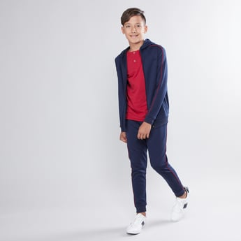 Tipping Detail Jacket with Long Sleeves and Jog Pants