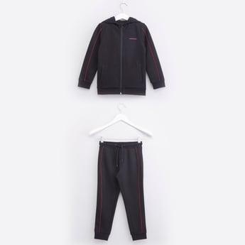 Printed Full Zip Hooded Jacket with Drawstring Closure Jog Pants