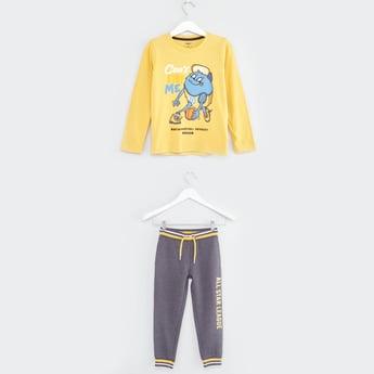 Printed Long Sleeves T-shirt and Jog Pants
