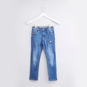 Embroidery Detail Jeans with 5-Pockets and Belt Loops
