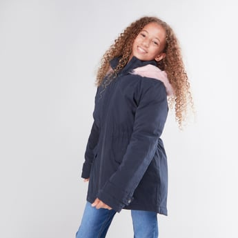 Solid Hooded Parka Jacket with Long Sleeves