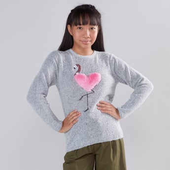 Fur Textured Round-Neck Flamingo Print Jumper with Long Sleeves