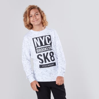 Graphic Printed Heathered T-shirt with Long Sleeves