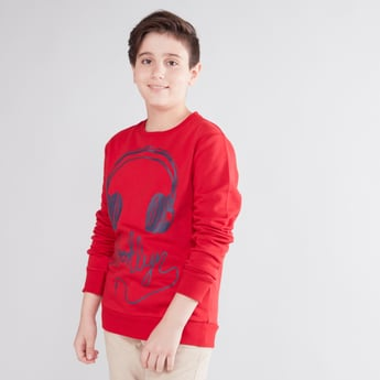 Graphic Print Sweatshirt with Long Sleeves
