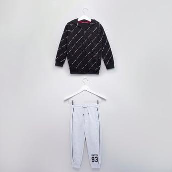 Printed Long Sleeves Jacket with Hood and Jog Pants
