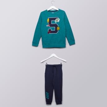 Printed Sweatshirt with Full Length Jog Pants