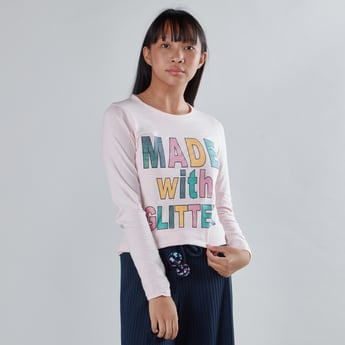 Printed T-shirt with Round Neck and Long Sleeves