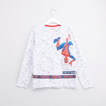 Spiderman Printed Round Neck T-shirt with Long Sleeves