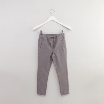 Textured Full Length Pants with Drawstring and Pocket Detail