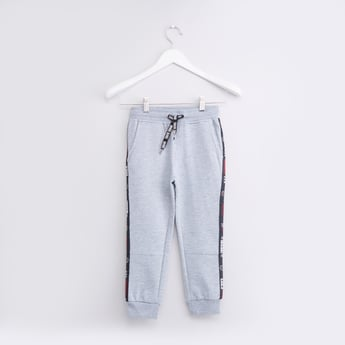 Text Printed Tape Detail Joggers with Pockets and Drawstring Closure