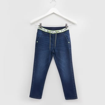 Full Length Jeans with Pocket Detail and Printed Elasticised Waistband
