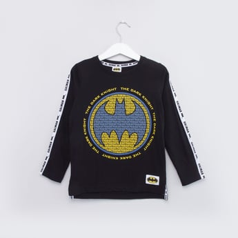 Batman Printed T-shirt with Round Neck and Long Sleeves