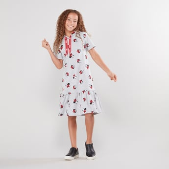 Minnie Mouse Printed Dress with Hood and Short Sleeves