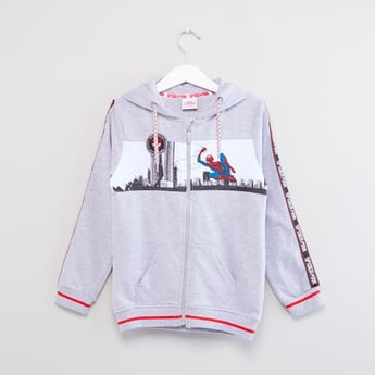 Spiderman Printed Hoodie with Long Sleeves and Pockets