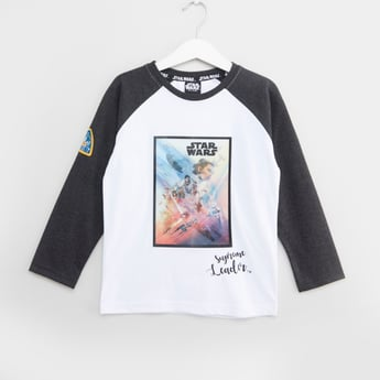 Star Wars Printed T-shirt with Round Neck and Raglan Sleeves