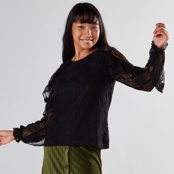 Woven Round Neck Blouse with Long Sleeves