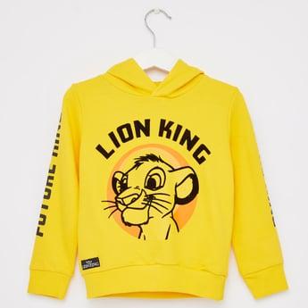 Lion King Print Hoodie with Long Sleeves