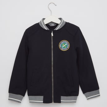 Textured Bomber Jacket with Pockets
