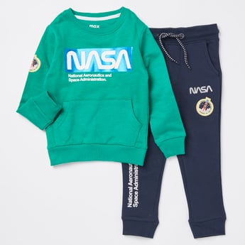 NASA Print Round Neck Sweatshirt and Full Length Jog Pants Set